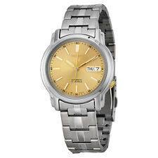 SEIKO MEN AUTOMATIC SEE THROUGH GOLD DIAL STEEL WATCH SNKL81 SNKL81K1