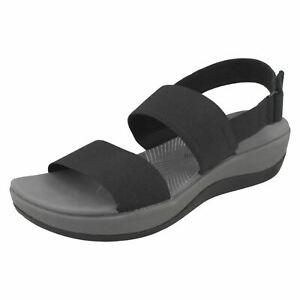Womens-Clarks-Cloudsteppers-Arla-Jacory-Black-Elasticated-D-Fit-Slingback-Sandal