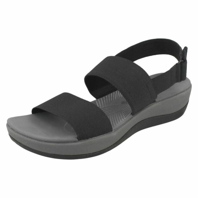 6dc26f129e27 Womens Clarks Cloudsteppers Arla Jacory Black Elasticated D Fit Slingback  Sandal