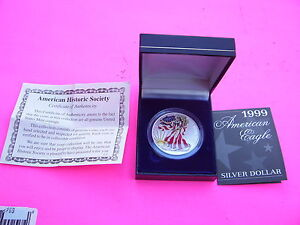 American Silver Eagle 1999 Painted With Box And Coa 1