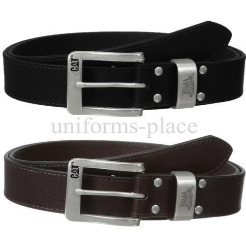 Caterpillar Belt Clark Folk Men Leather BLACK BROWN Belts Logo CAT Nickel Buckle