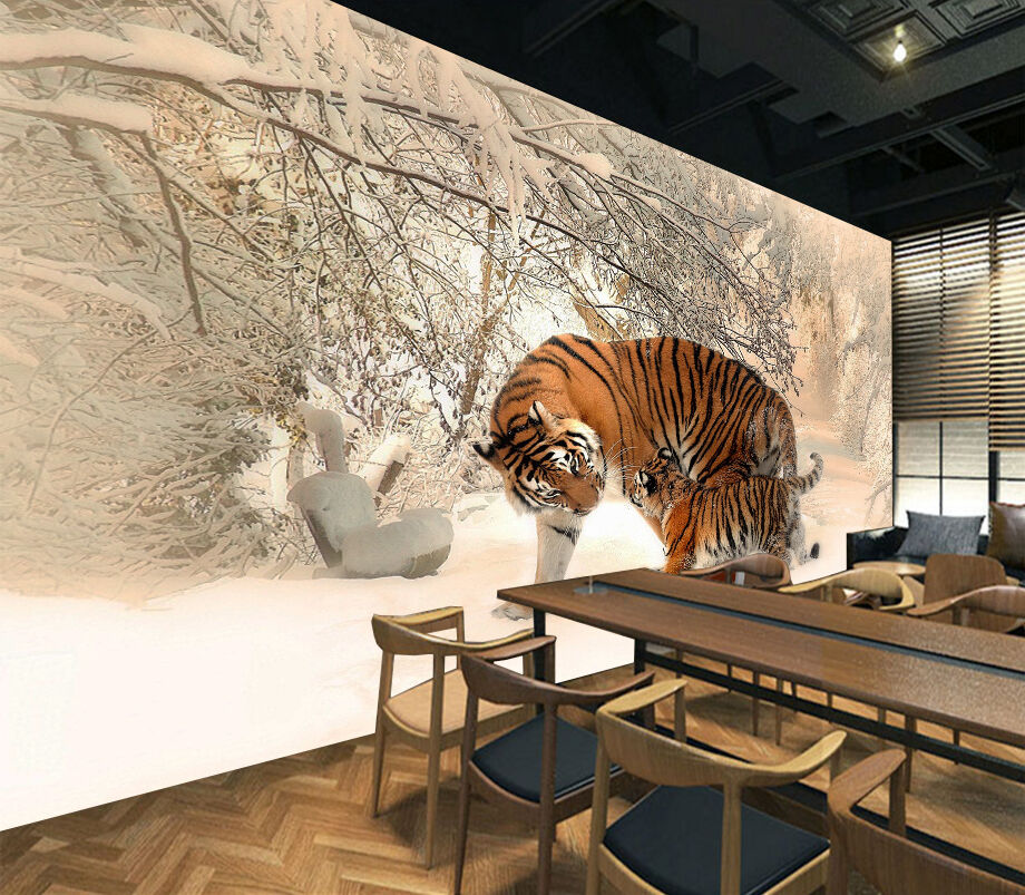 3D Snow Field Tigers 71 WallPaper Murals Wall Print Decal Wall Deco AJ WALLPAPER