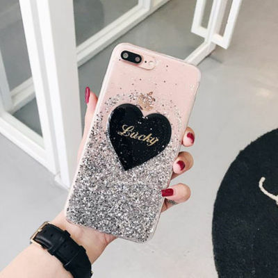Girl's Cute Love Bling Glitter Soft Gel Lucky Case Cover for iPhone 6 7 8 X Plus
