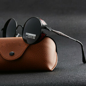 45f352a0cfd Vintage Polarized Steampunk Sunglasses Mens Round Mirrored Driving Sun  Glasses