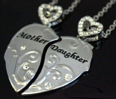Madre Figlia Cuore Collana Set in Silver Plate Famiglia Ciondolo 2 Pezzi