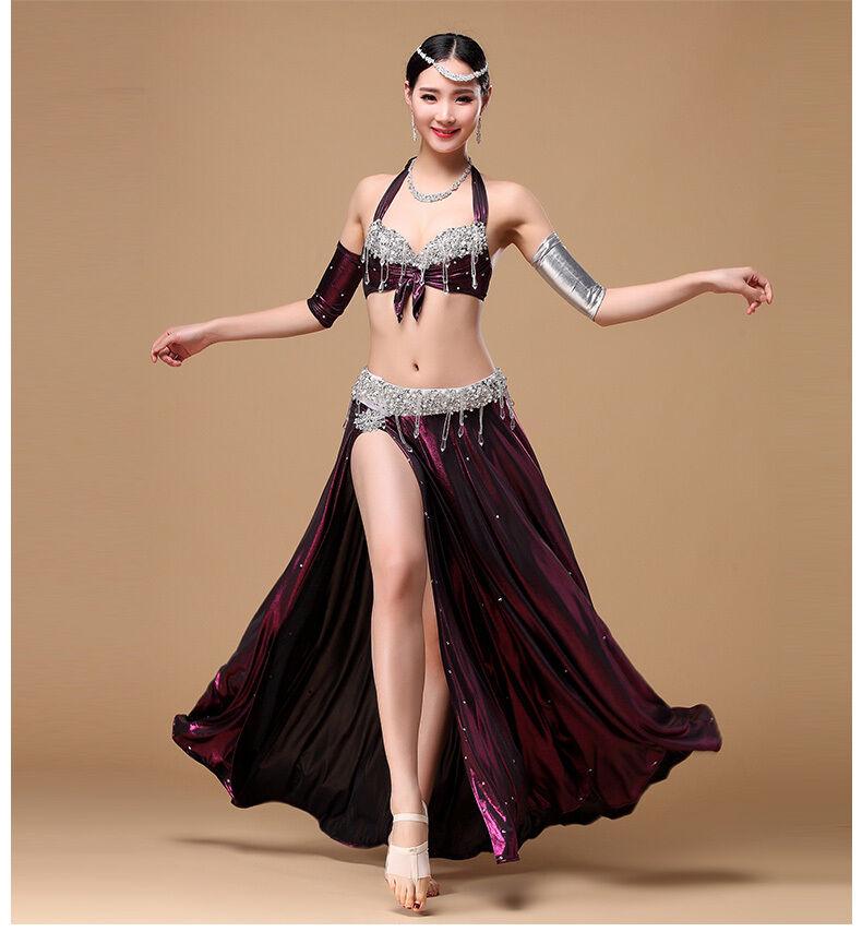 D176 danza del ventre costume carnevale belly dance costume top reggiseno gonna braccio 4 pezzi