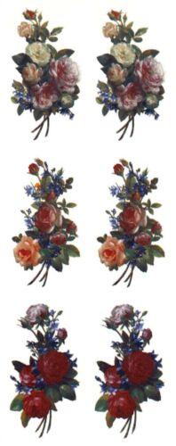 6 Rose Bouquet 2 X 1  Waterslide Ceramic Decals Bx