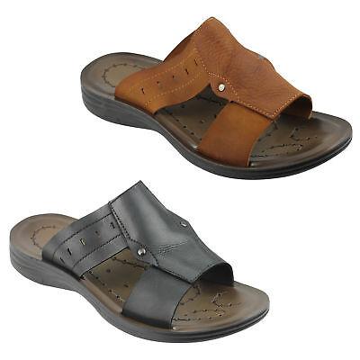 New Mens Real Leather Sandals Black Brown Summer Slip On Slider Uk Size 6 To 10