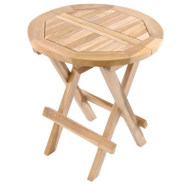 Divero Garten Balkon Beistelltisch Holz Teak Klappbar Kindertisch unbehandelt