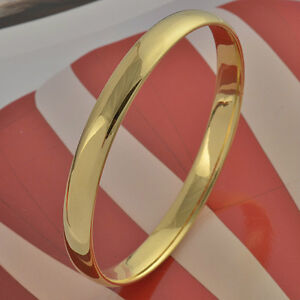 Simple-9K-real-Gold-Filled-Women-039-s-Smooth-Bangle-Z326