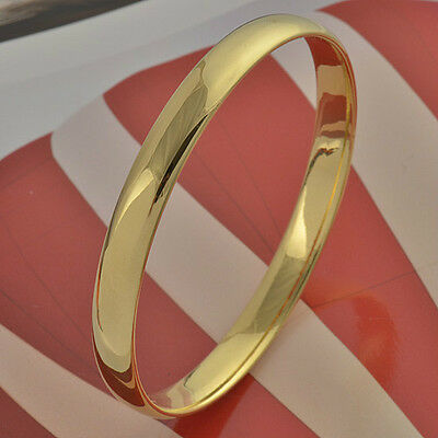 Simple 9K real Gold Filled Women's Smooth Bangle,Z326