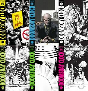 DOOMSDAY-CLOCK-Cover-Variant-1-2-5-6-7-8-set-SPOT-COLOR-and-B-W-Watchmen-FREE