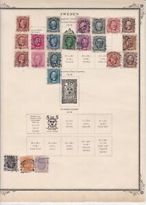 sweden  early stamps  on album page ref r11432