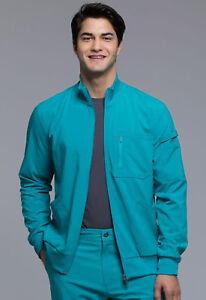a9a0452e0de Teal Blue Cherokee Scrubs Infinity Mens Zip Front Warm Up Jacket ...