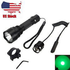 5000LM C8 Green Light CREE LED Hog Night Hunting Flashlight Rifle W/Scope Mount
