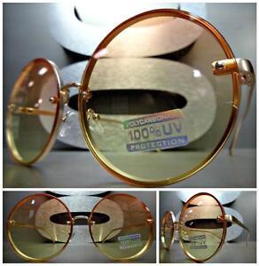OVERSIZED VINTAGE RETRO Style SUN GLASSES Unique Rimless Round Frame Yellow Lens