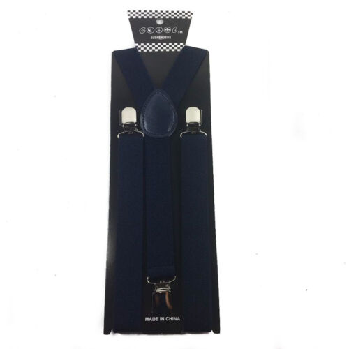 Clip on Bow-Tie Matching Set for Adults Men Women Navy Blue  Suspender