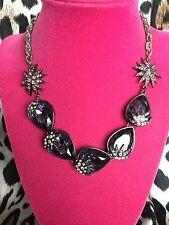 Betsey Johnson Celestial Moon Starburst Star Violet Purple BIG Crystal Necklace