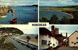 Minehead-Sumerset-Mehrbildkarte-1971-Harbour-Hafen-Bucht-North-Hill-Church-Town