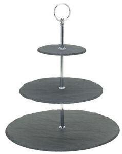 Etagere-mit-3-Schieferplatten-32cm-Etagenstaender-Etagenplatten-Servierplatte