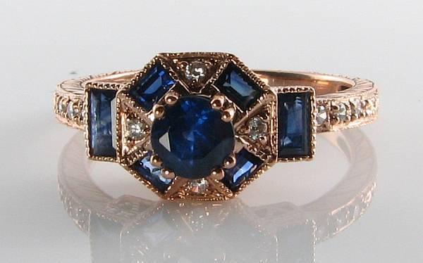 DIVINE 9K 9CT pink gold blueE SAPPHIRE & DIAMOND ART DECO INS RING FREE RESIZE