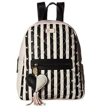 Betsey Johnson Quilted Hearts Blush Pink & Black Stripe Backpack NWT $90 MSRP