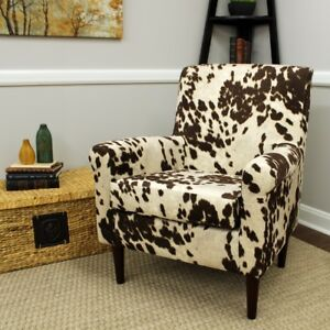 Details About Cowhide Cow Hide Accent Lounge Arm Chair Urban Rustic  Upholstery Club Seat Brown
