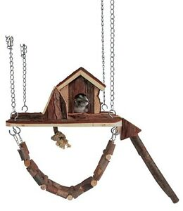 Hamster Mice Natural Wood Hanging Playground with House & Bridge for Cage TRIXIE