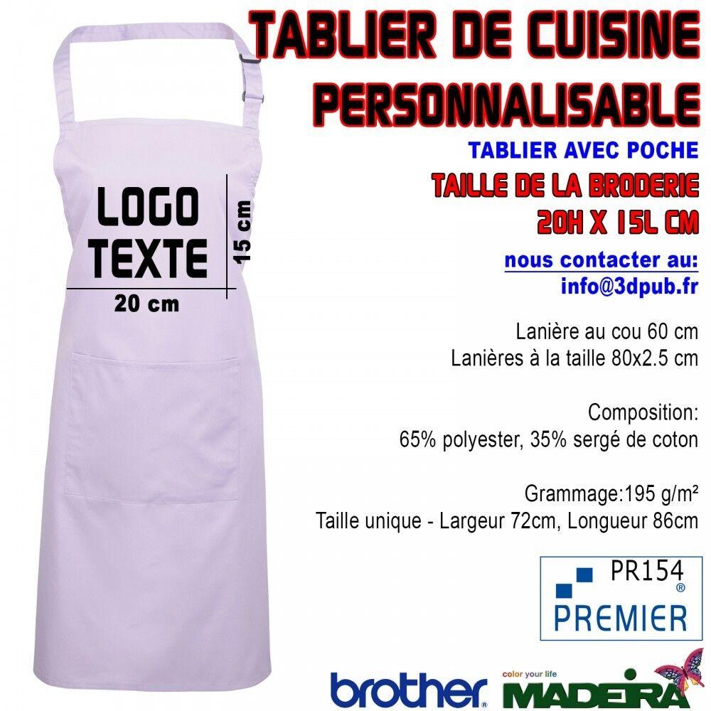 5X Tablier Avec Poche violetS Brodé Personnalisable Café Bar Restaurant