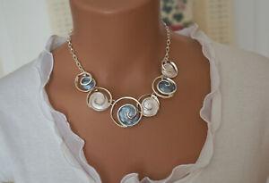 Bettelkette-Statement-Halskette-Grau-Blau-Silber-Collier-Kreise-SP1001