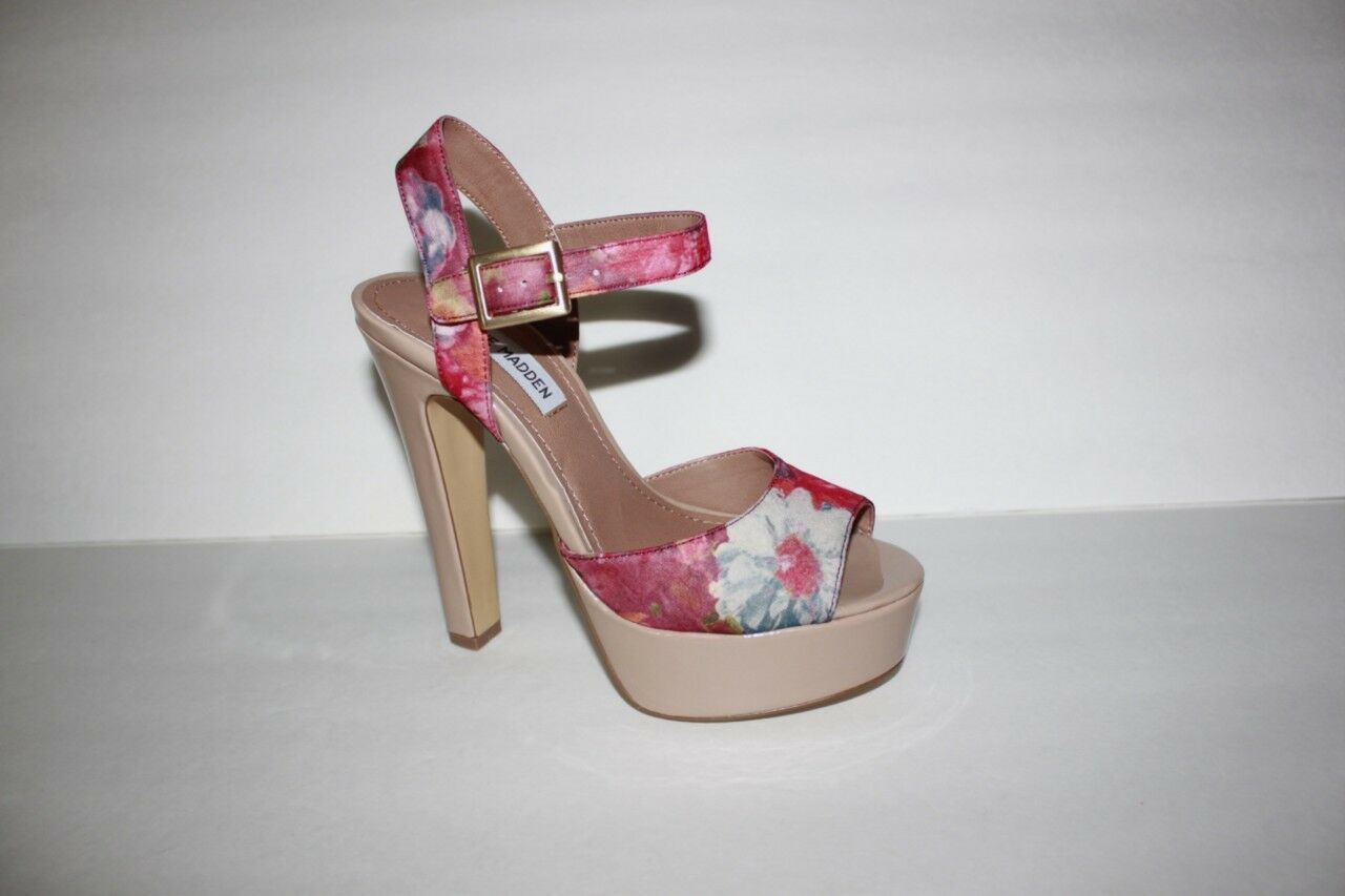 Steve Madden Damenschuhe Dynemt-f Größe 7.5 M Floral Satin Sandale High Heel Schuhe NIB