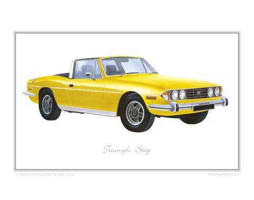 Limited Edition Classic Car Print Poster by Steve Dunn yellow Triumph Stag