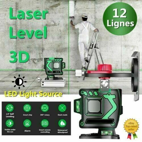 12 Lines 360 ° Horizontal&Grünical Cross 3D Grün Laser Level Self Leveling GFUS