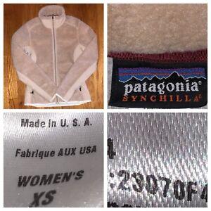 Patagonia-Synchilla-Women-s-Full-Zip-Cream-Fuzzy-Fleece-Jacket-Size-XS-USA