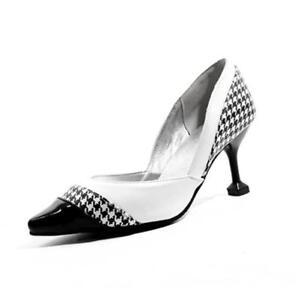 del del partido ocasionales alto se mujeres puntiagudos zapatos que Las estilete los escocesa de tela cosen del los dedos deslizan tacón la en UpCTqaw