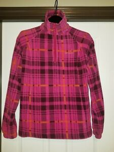 Columbia-womens-fleece-pull-over-size-L-large-fleece-jacket-plaid
