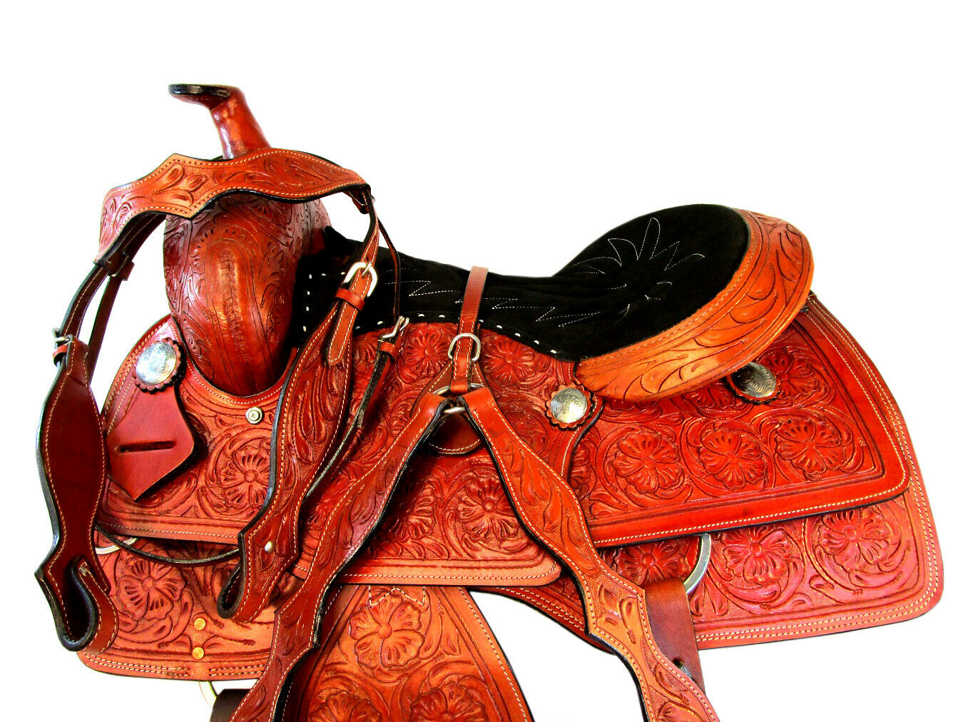 STITCHED SEAT RANCH REINING WESTERN HORSE SADDLE LEATHER RODEO WORK RANCH