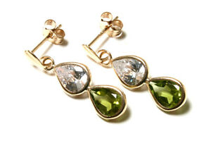 9ct Gold Peridot And Cz Teardrop Earrings Made In Uk Gift Boxed Birthday Gift Jade Weiß