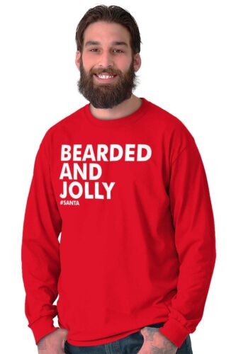 Bearded and Jolly Trendy Hipster Cool Fashion Funny Christmas Long Sleeve Tee