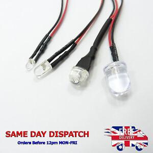 12V 3mm Diodo diffuso LED Blu 20cm Cavo Holder emettitore di luce filo di linea