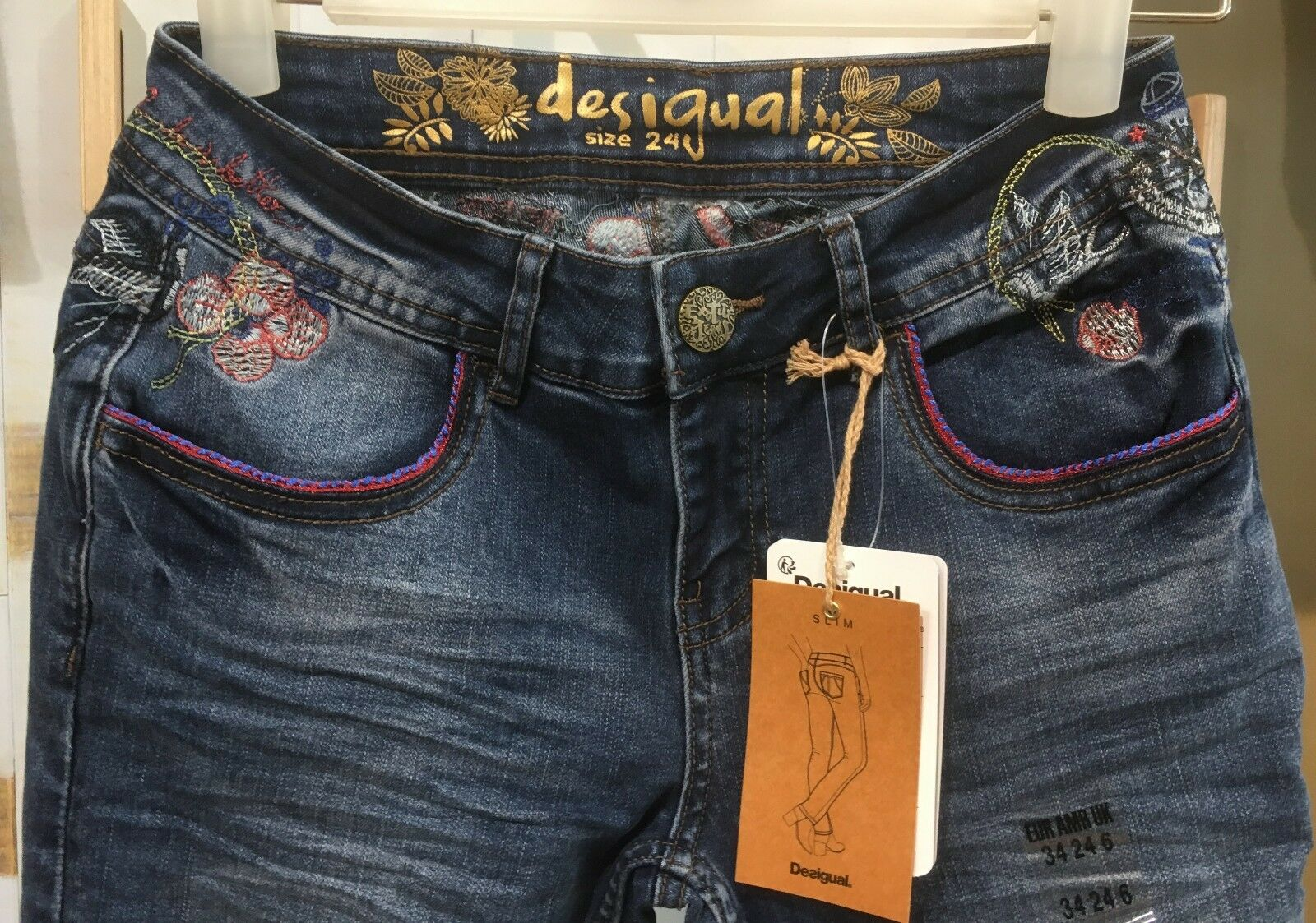 Desigual 18swdd44 as 2018 Jeans Denim Maite Jeans Vaquero gr. 24 BIS 34