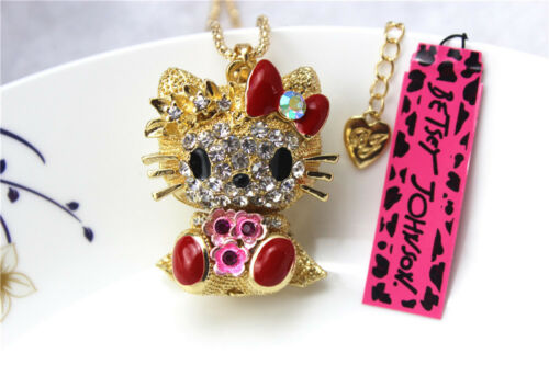 New Betsey Johnson Fashion Necklace Crystal Cute Cat Pendant Sweater Chain ##9