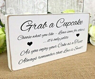 Wedding LET THEM EAT CAKE free standing sign shabby vintage top table plaque