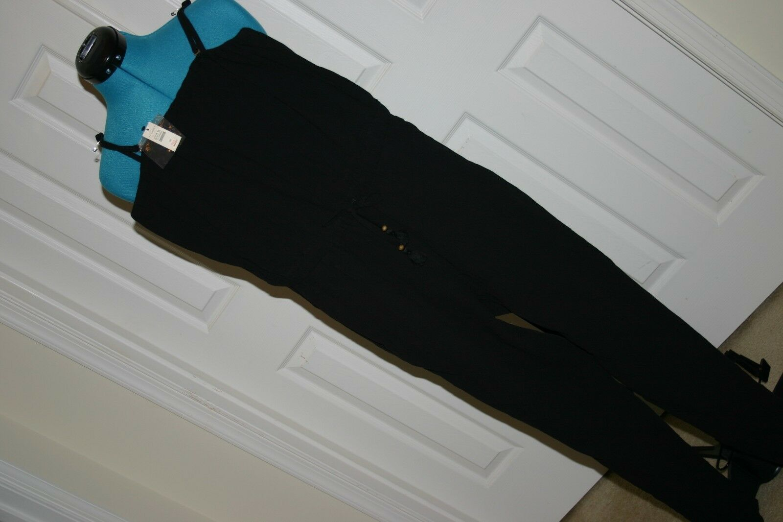 Talbots BLK Gauze Strapless JUMPSUIT Beach LOUNGE Wear Sz M (Runs LARGE) NWT  99
