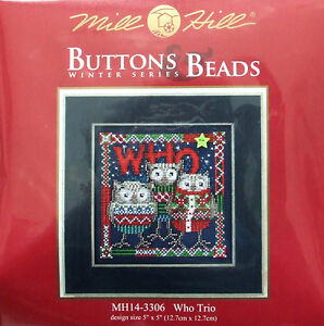Mill-Hill-Cross-Stitch-Bead-Kit-039-Who-Trio-039-Owls-Christmas-14-3306