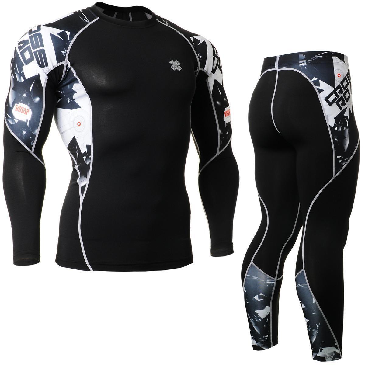 Fixgear camisas de compresión C2L P2L-B17 y  pantalones de Deporteswear MMA Entrenamiento Gimnasio  precioso
