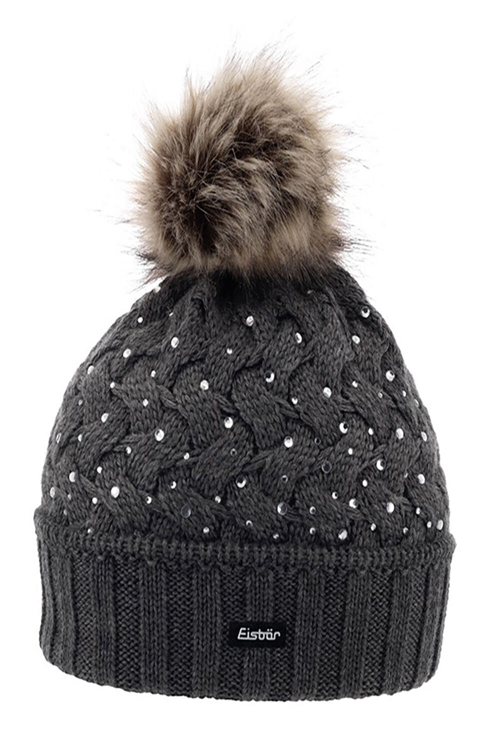 EISBAR ALICE LUX CRYSTAL with Faux Faux with Fur Pompon Winter Merino Wool Sports Ski Hat 6502ce