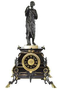 PENDULE DIANE DE GABI. Kaminuhr Empire clock bronze horloge antique uhren cartel