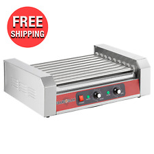 Commercial 24 Hot Dog Compact Food Griller Roller Flat Grill Cooker With 9 Rollers