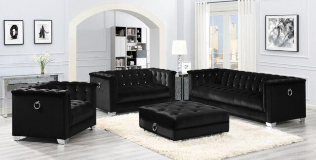 Amazing Modern Hollywood Glam Living Room 3 Piece Sofa Loveseat Chair Set Black Velvet Machost Co Dining Chair Design Ideas Machostcouk